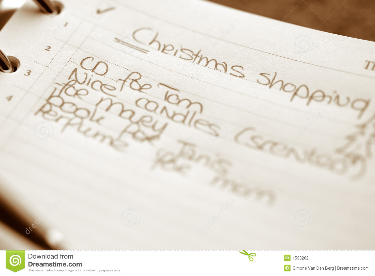 Christmas Shopping List Stock Photo Image Of Paper Ringbinder