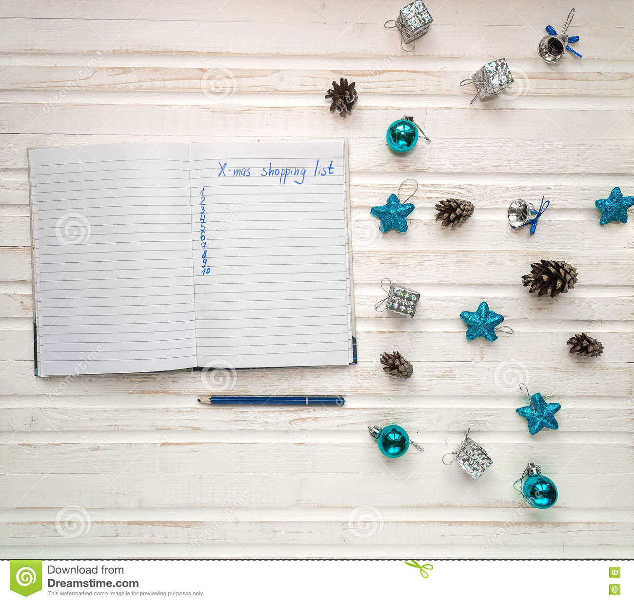 Christmas Shopping List On White Wooden Background Holiday Deco