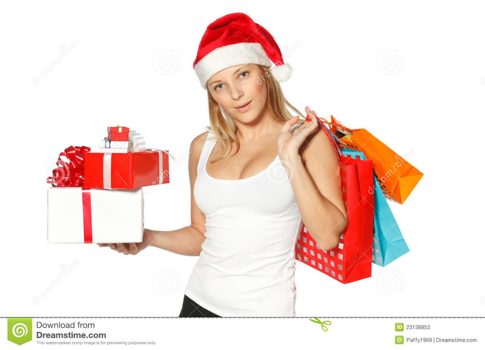 Christmas Shopping Woman Stock Photos Image 23136853