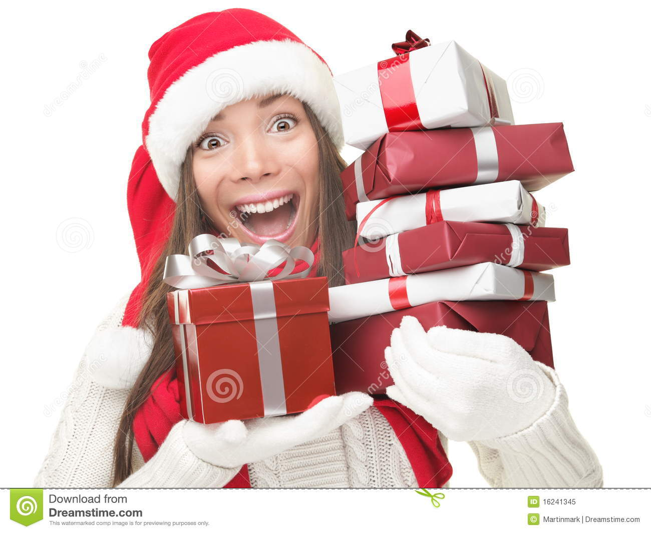 Christmas Shopping Woman Holding Gifts Royalty Free Stock