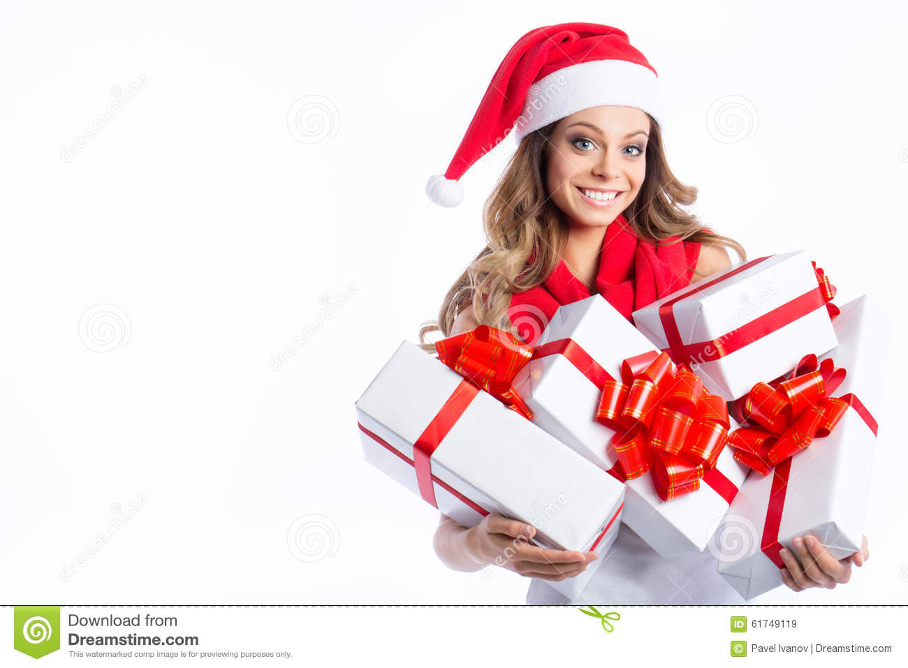 Christmas Shopping Woman Holding Many Christmas Gifts In Her Arms