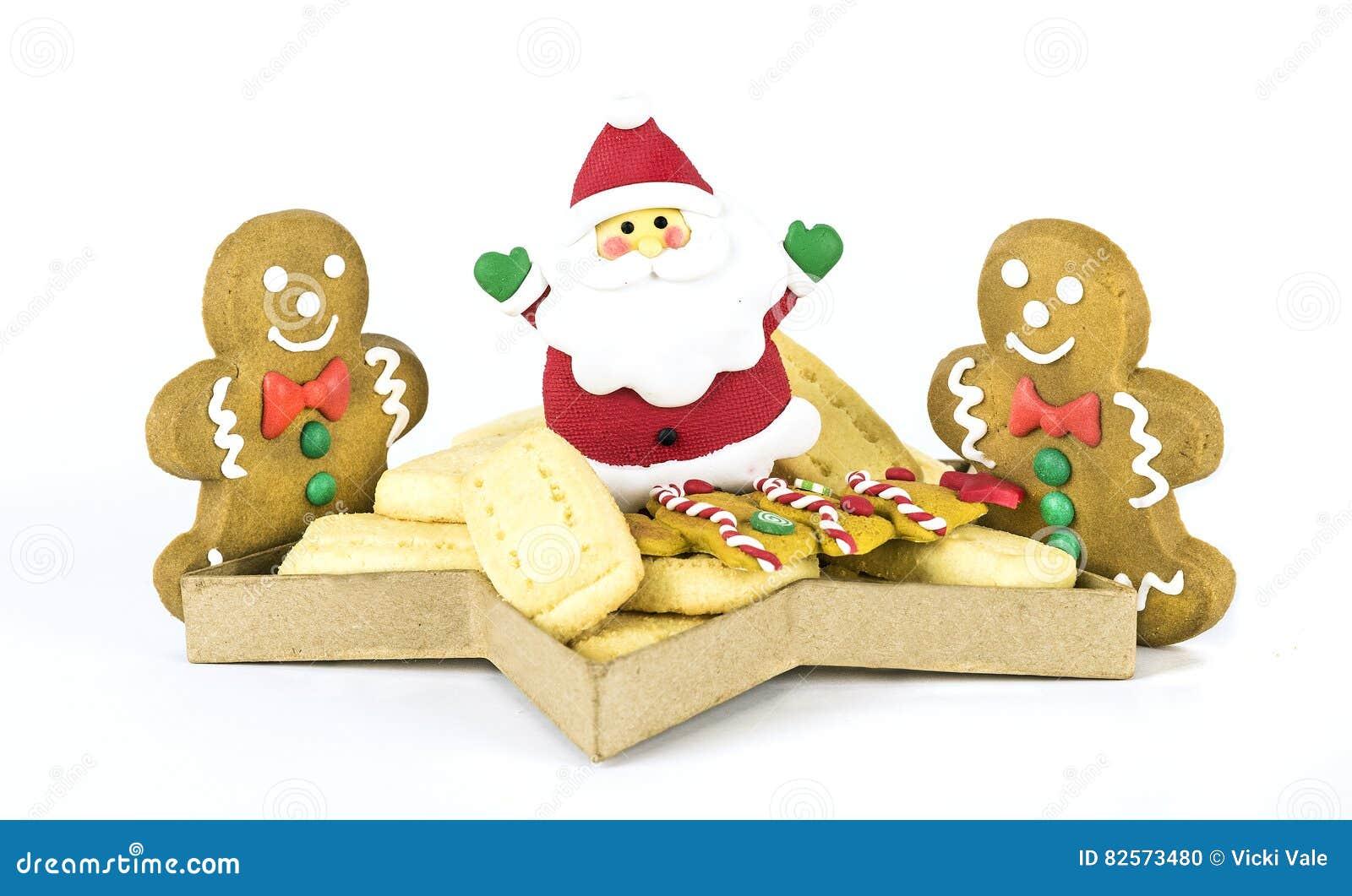Christmas Shortbread Santa And Gingerbread Men Stock Photo Image
