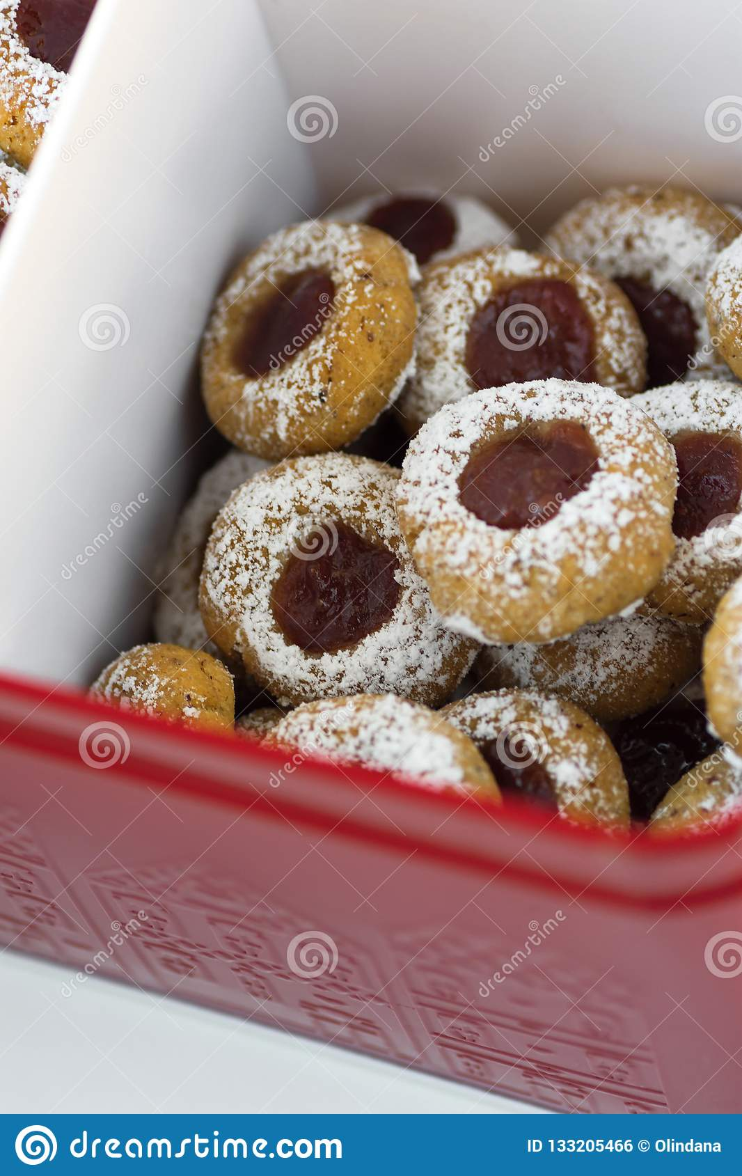 Christmas Shortbread Thumbprint Cookies With Strawberry Jam Powdered
