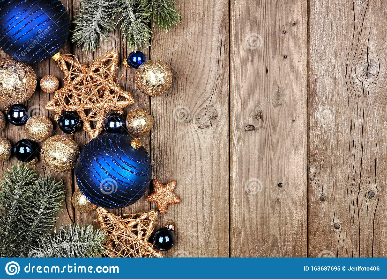 Christmas Side Border With Dark Blue And Gold Ornaments And Tree Branches Top View On A Wood Background Stock Image Image Of Navy Decor 163687695