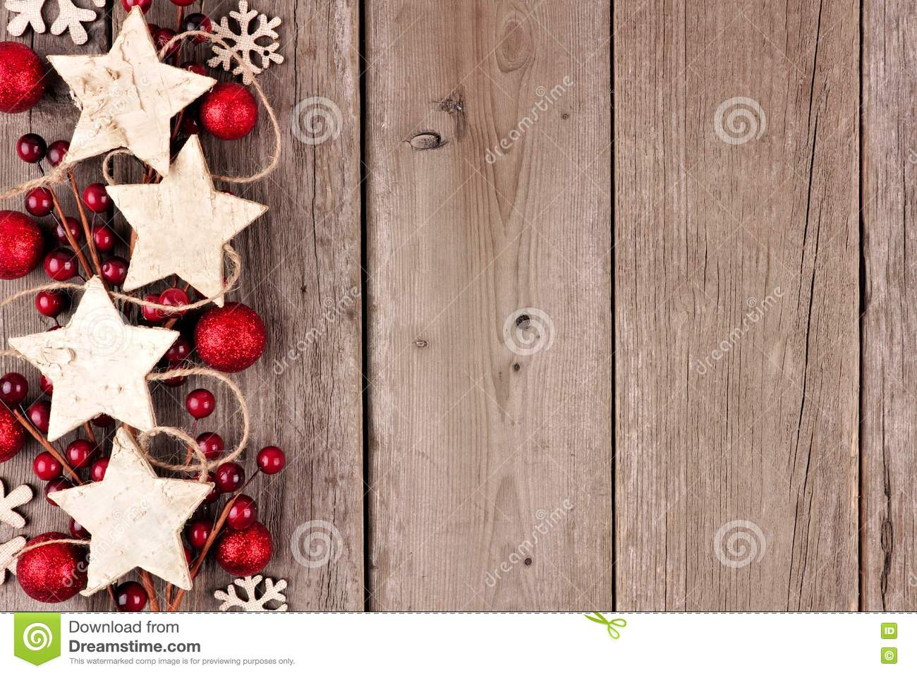 Download Christmas Side Border With Rustic Wood Star Ornaments And Baubles On Aged Wood Stock Photo - Image of celebration, nobody: 81046240