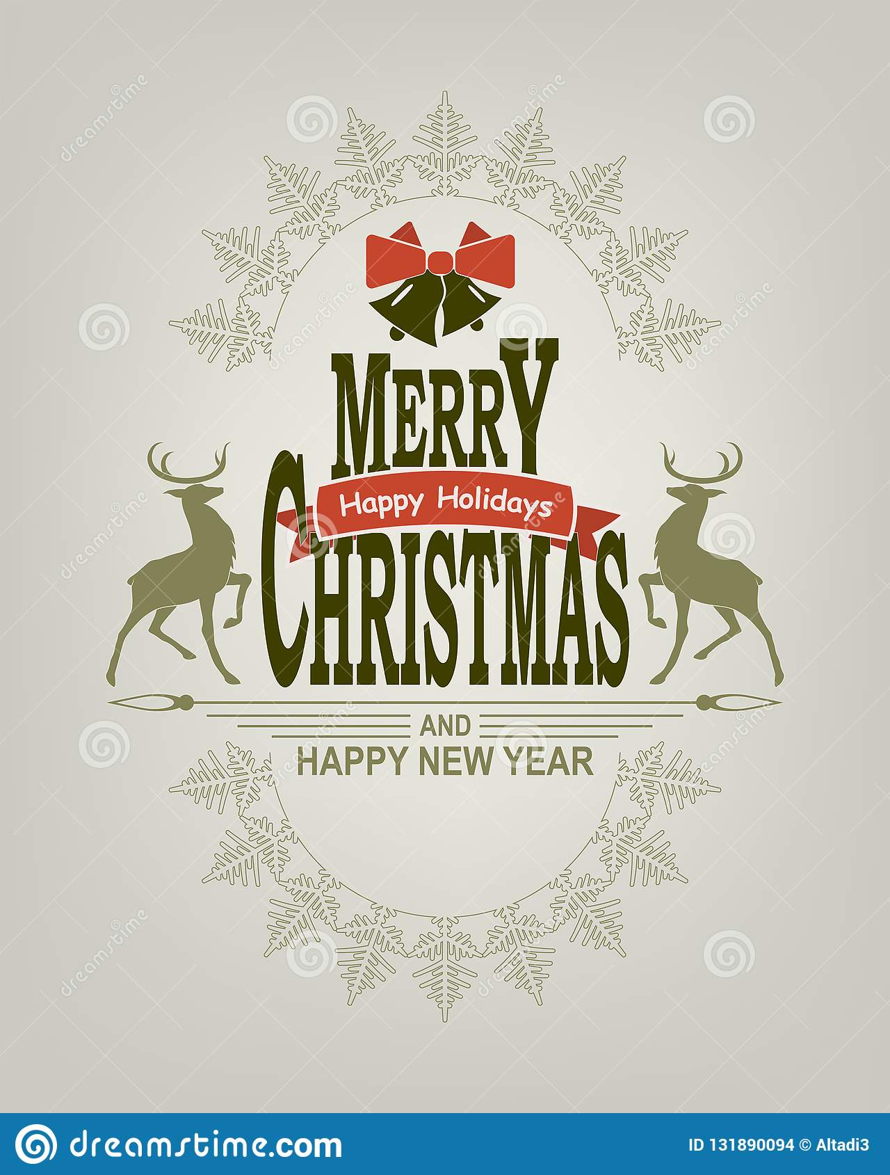 Christmas sign with deer, bells and abstract snowflake. Design element stock images