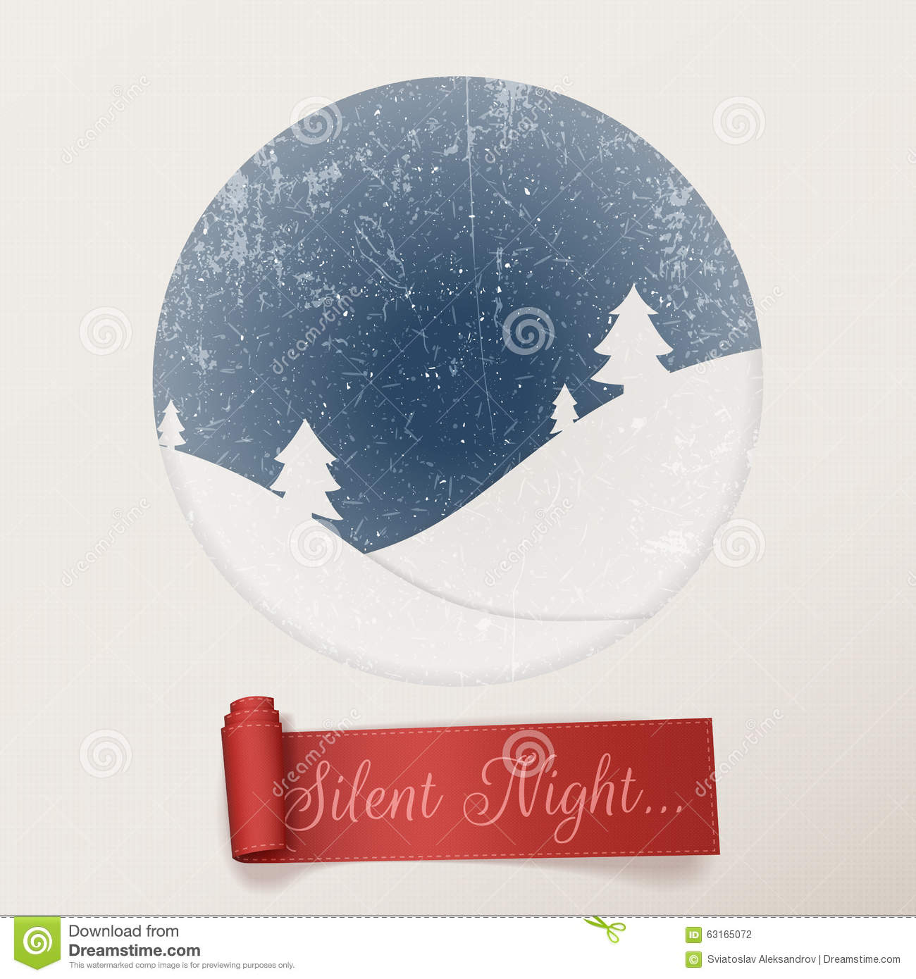 Christmas Silent Night White Greeting Card Stock Vector ...