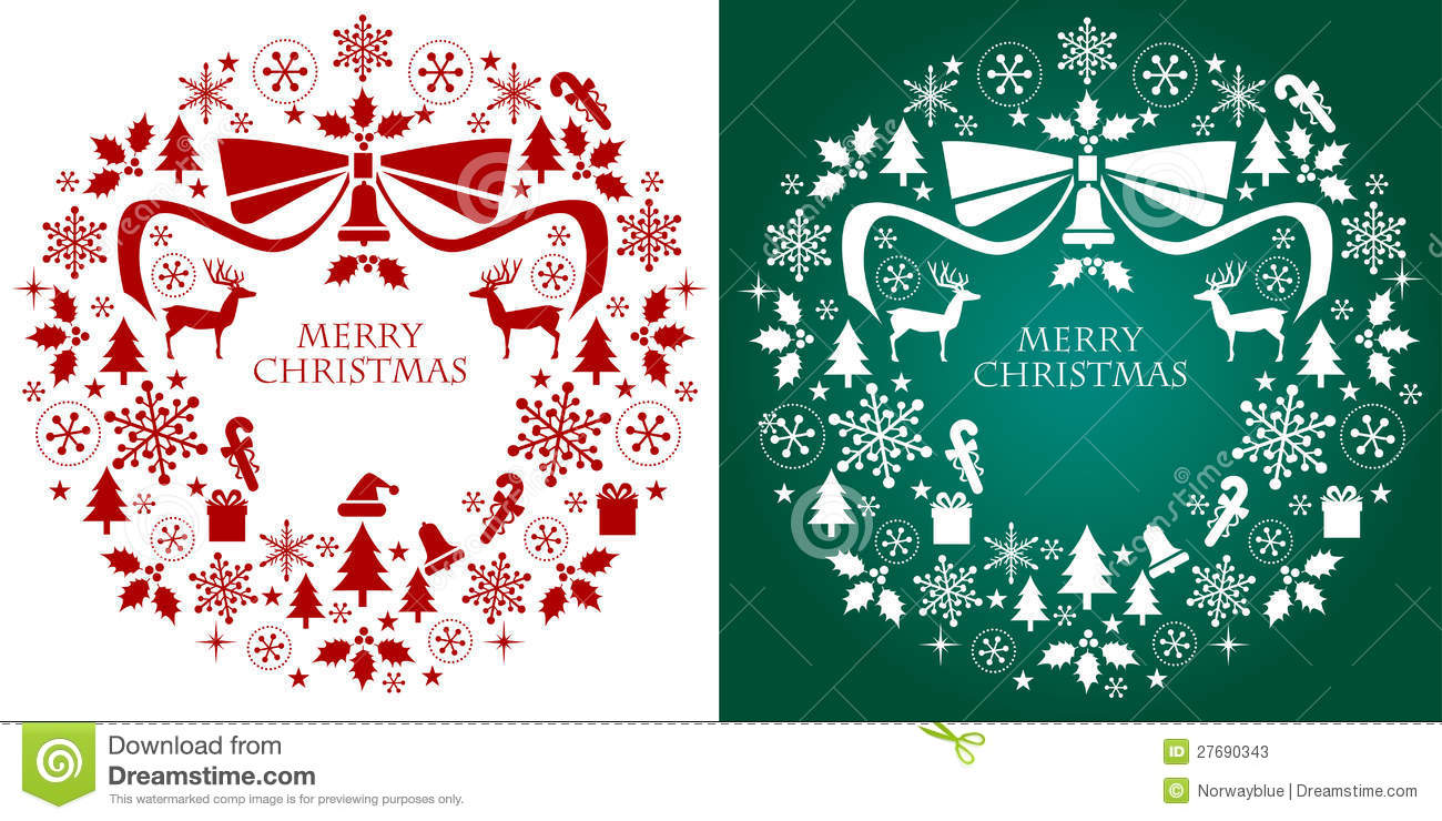 Christmas Wreath Silhouette.Christmas Silhouette Collection Wreath Stock Vector