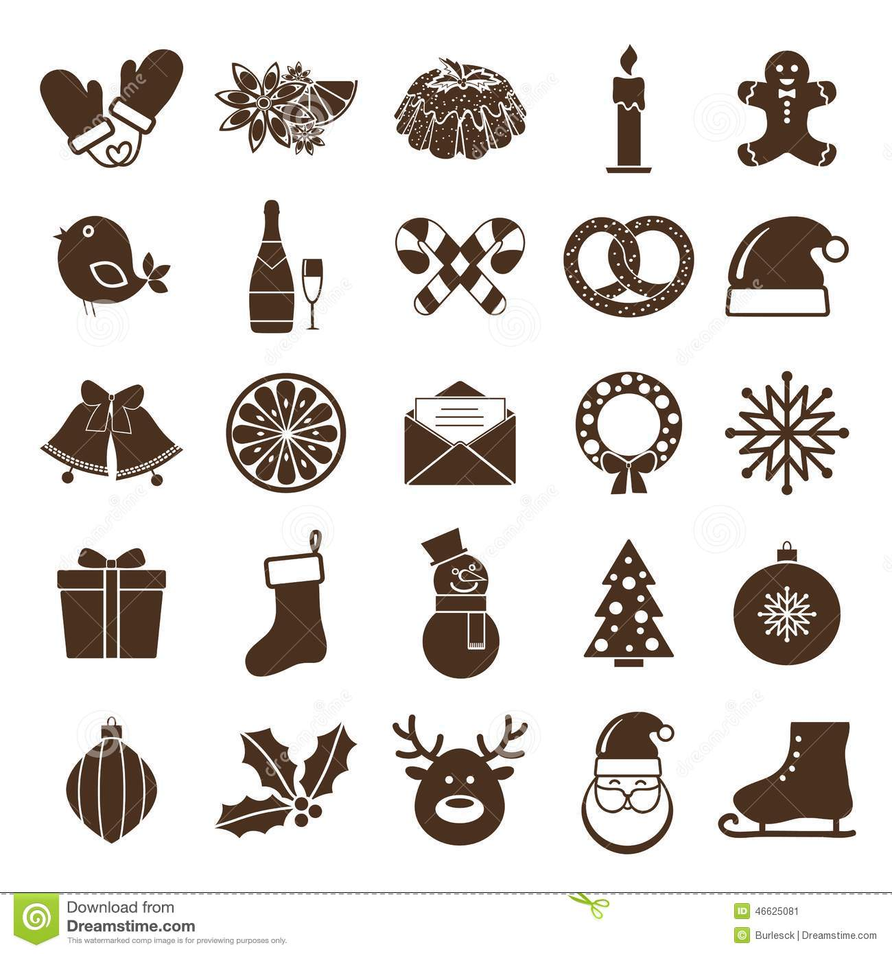 christmas silhouettes icons stock vector image 46625081. Black Bedroom Furniture Sets. Home Design Ideas