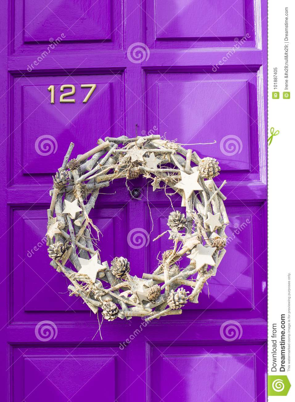 Christmas Silver Wreath Hanging On The Door Stock Image Image Of