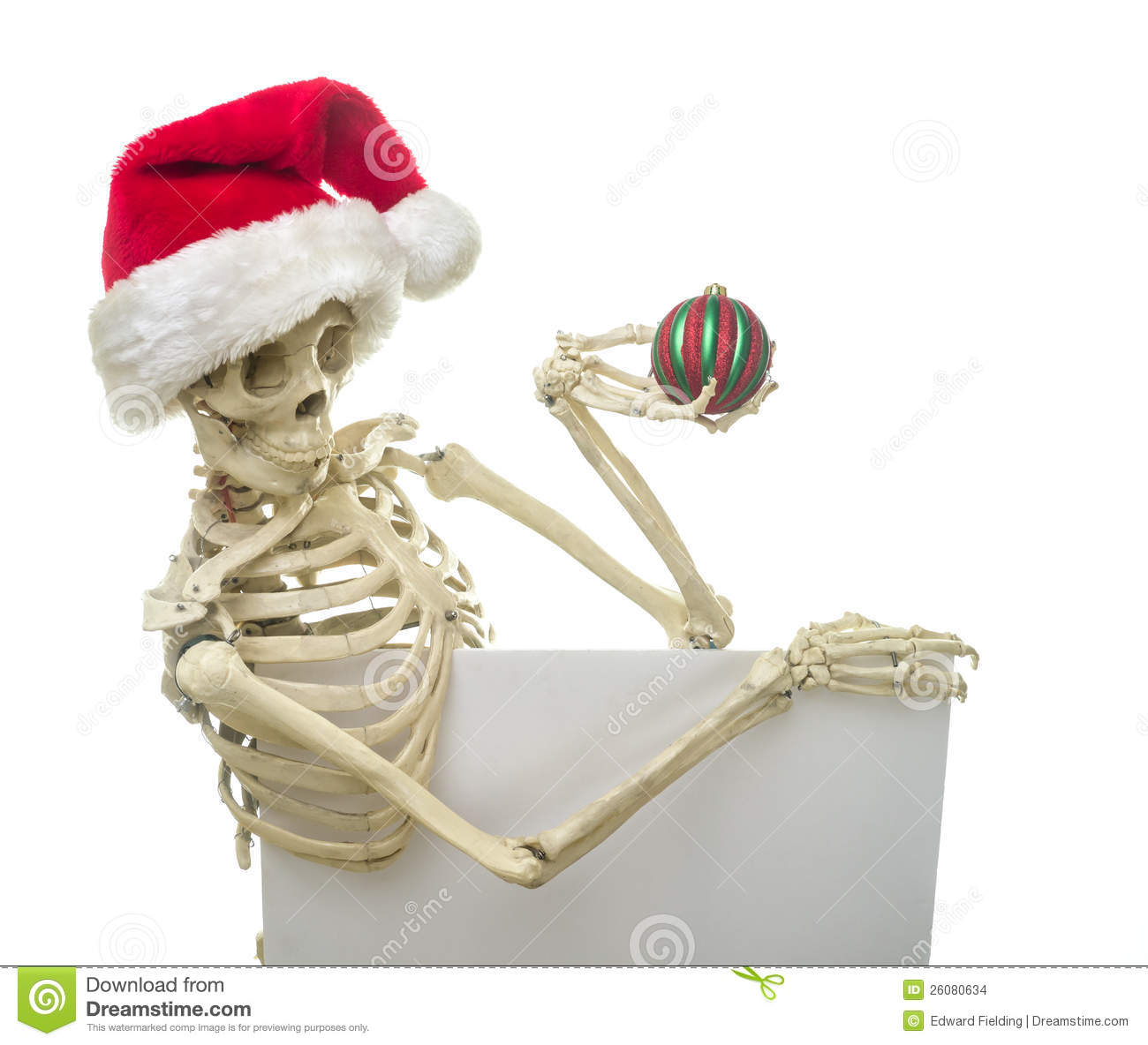 Christmas Skeleton Holding A Sign Stock Images - Image ...