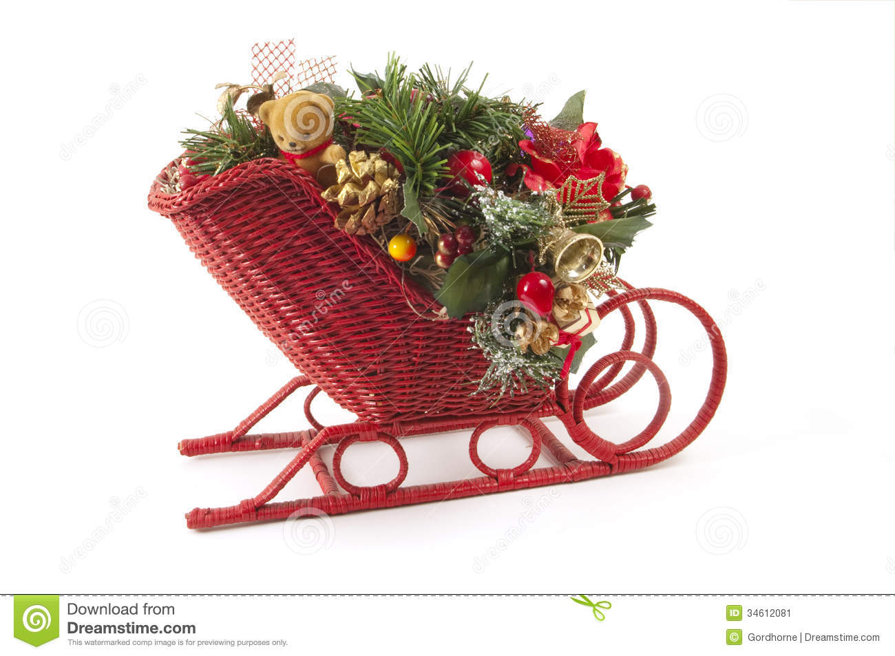 Oranmental Chrsitmas sled with small bear, pine cone and other ...