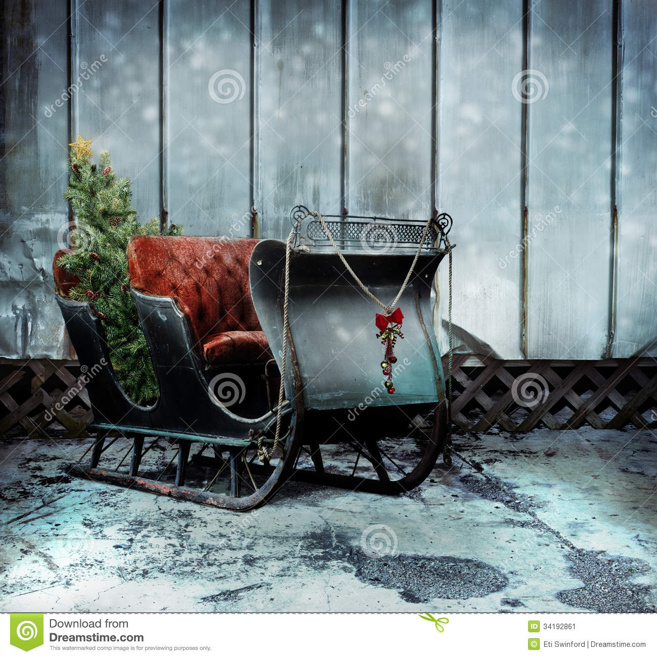 Christmas sleigh stock image Image of décor cart