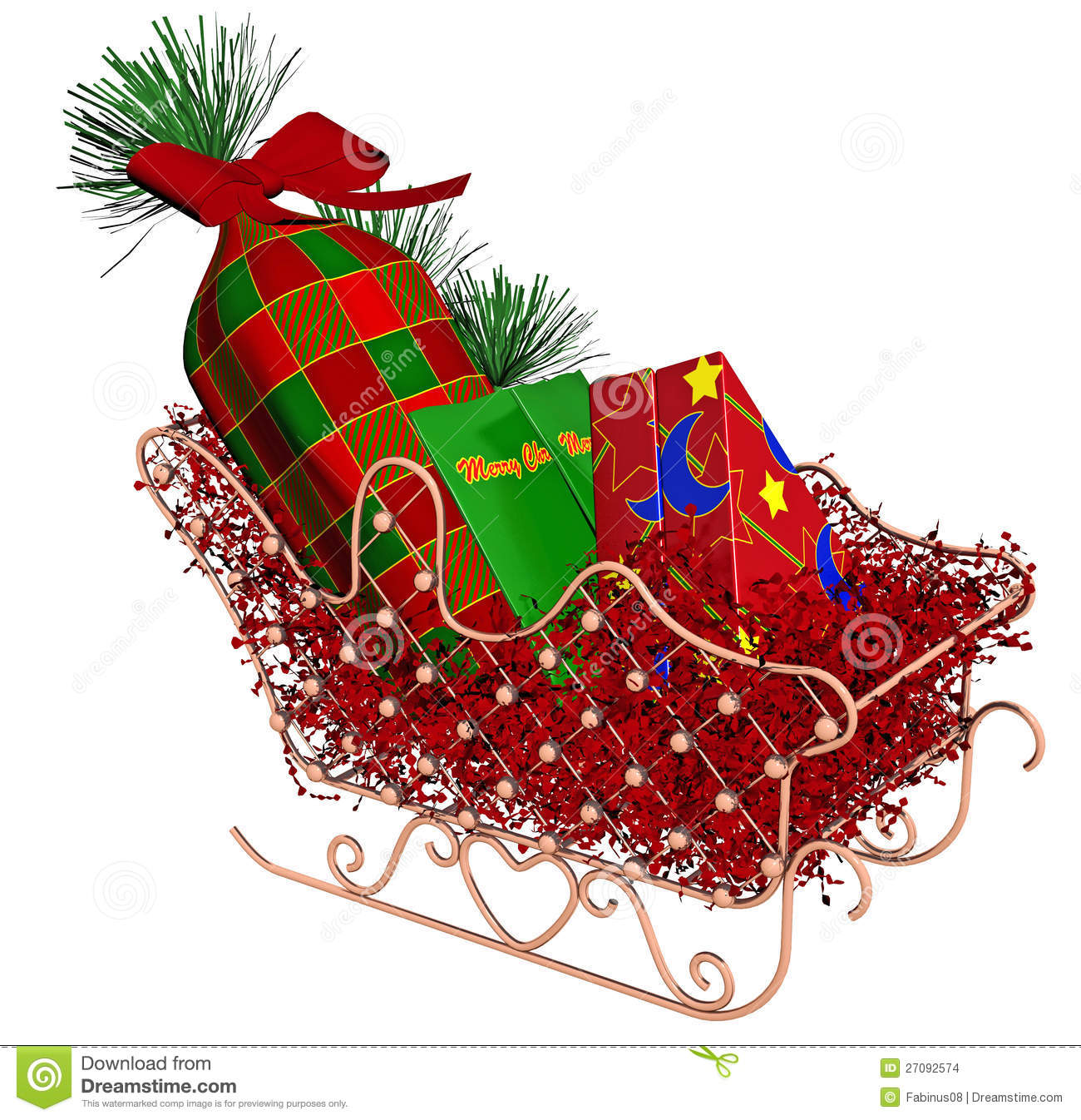 Stock Images: Christmas Sleigh with Gifts. Image: 27092574