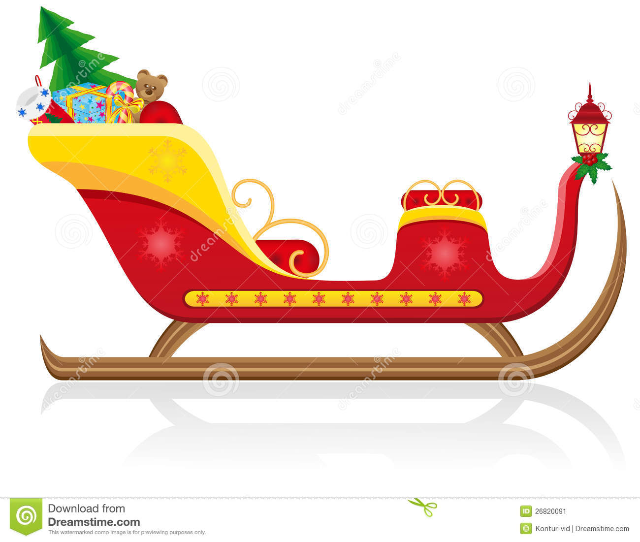 Christmas sleigh of santa claus with gifts vector illustration on ...