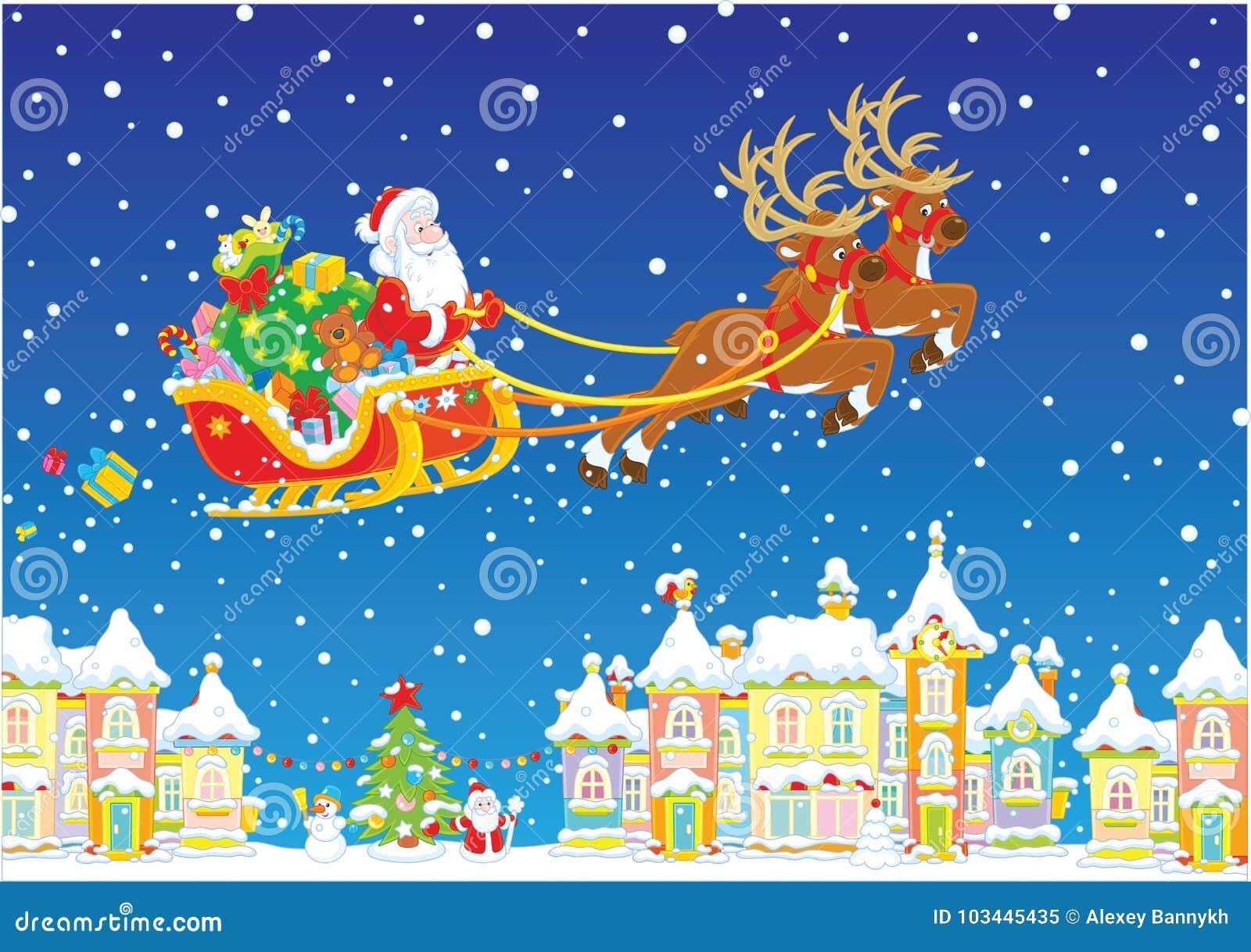 Christmas Sleigh Of Santa Claus Stock Vector