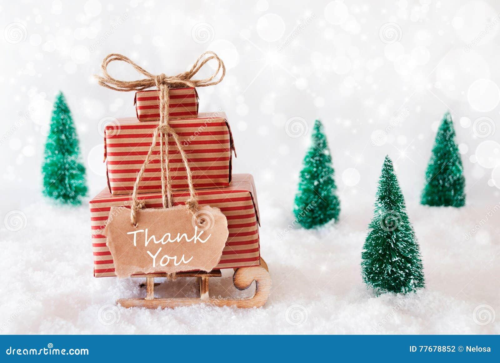 Christmas Sleigh On Snow, Thank You Stock Photo - Image of gift ...