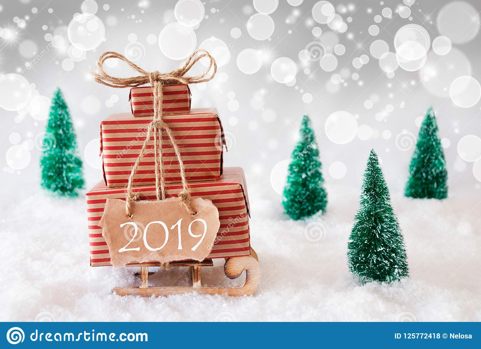 Snow On Christmas 2019 Christmas Sleigh On White Background, 2019, Silver Bokeh Effect