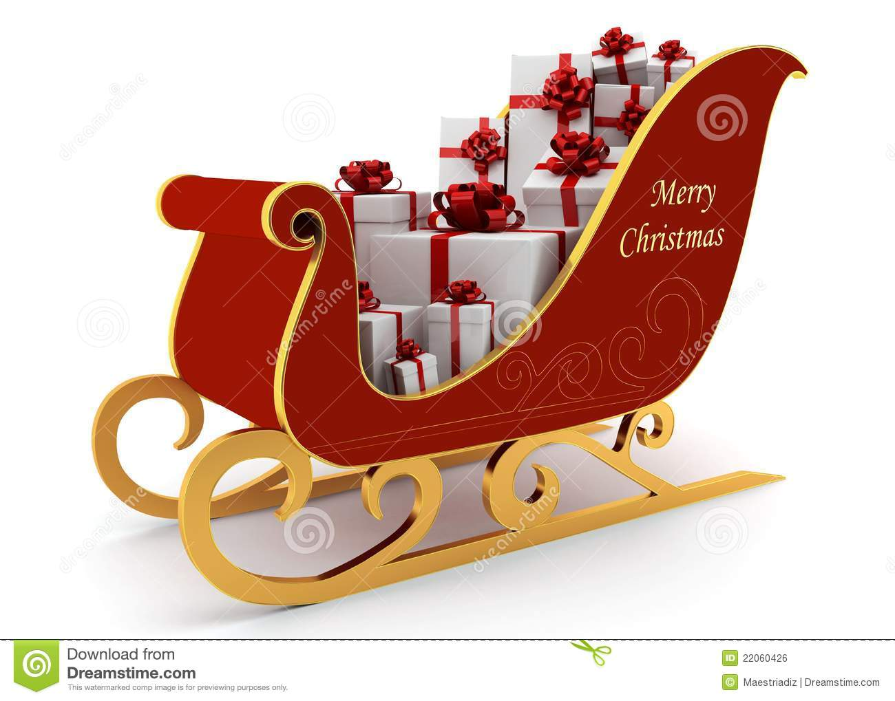 Christmas Sleigh With White Presents Royalty Free Stock Image - Image ...