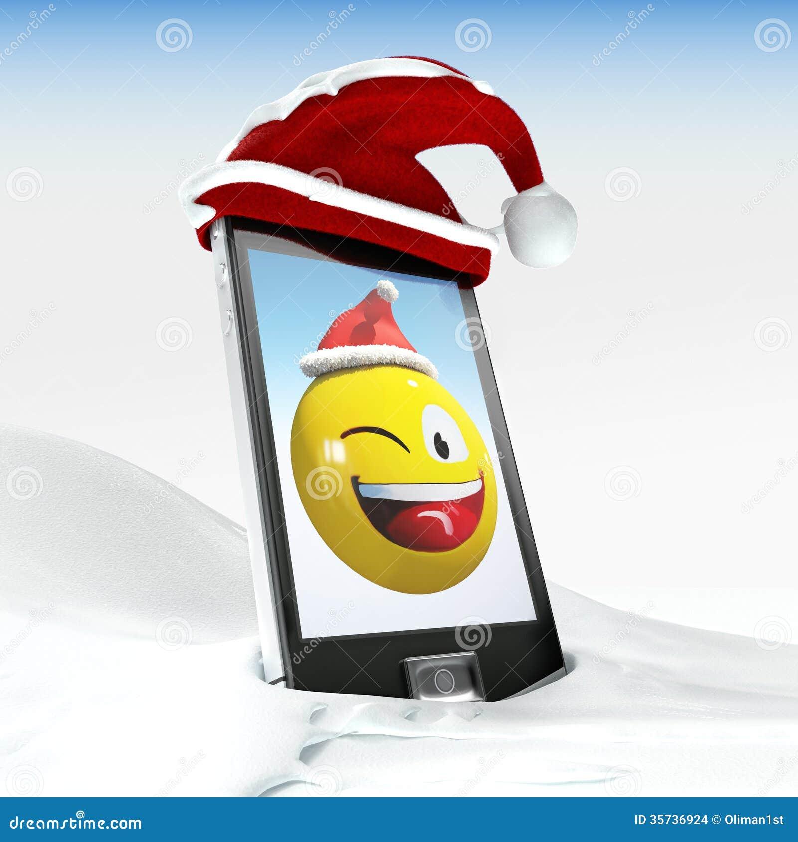 christmas smiley on generic mobile phone 3d illustrated. Black Bedroom Furniture Sets. Home Design Ideas