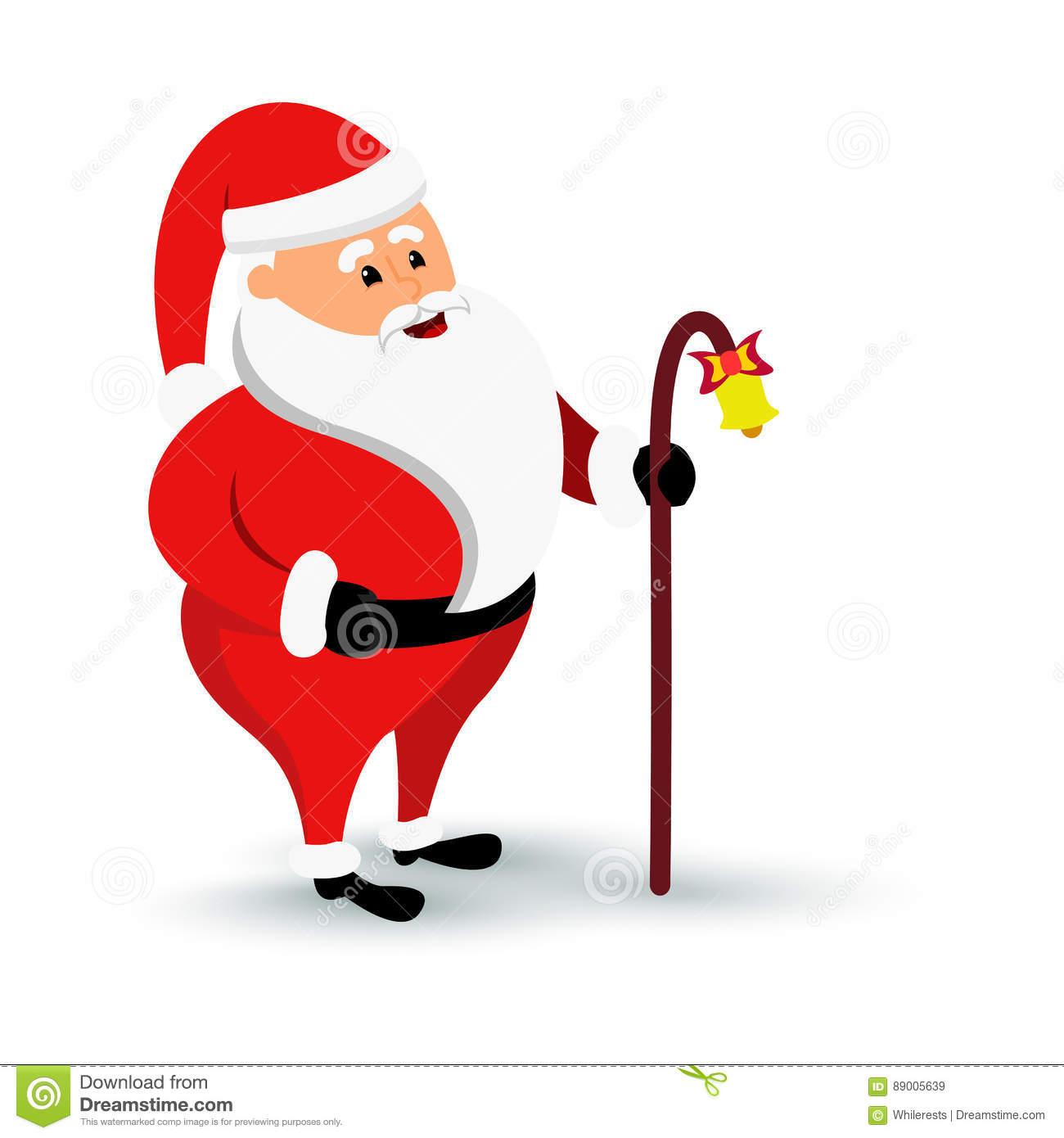 Christmas smiling Santa Claus character is coming. Cartoon bearded man in festive costume Santa Claus with baculus and