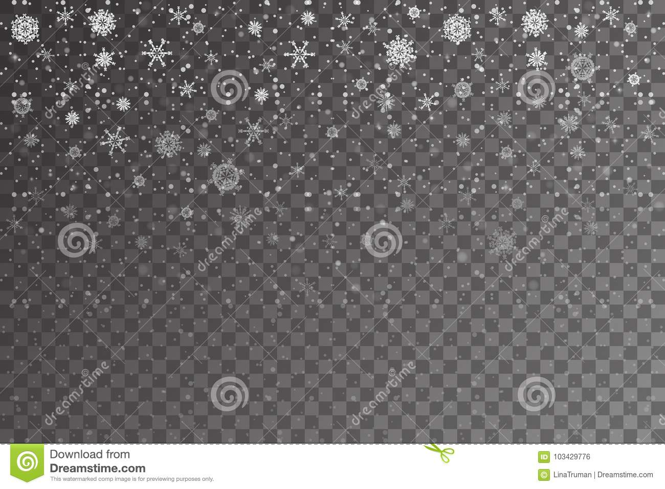 Christmas snow. Falling snowflakes on transparent background