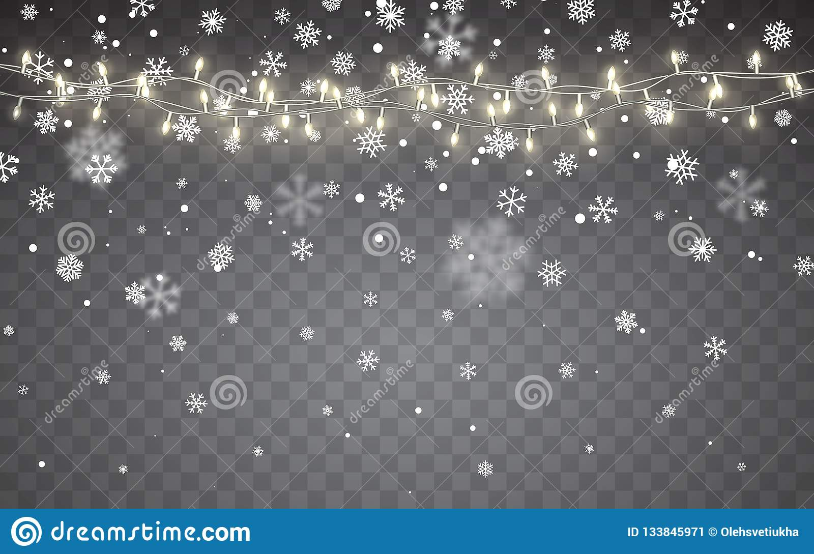 Christmas Lights That Look Like Water Falling.Christmas Snow Falling White Snowflakes On Dark Background