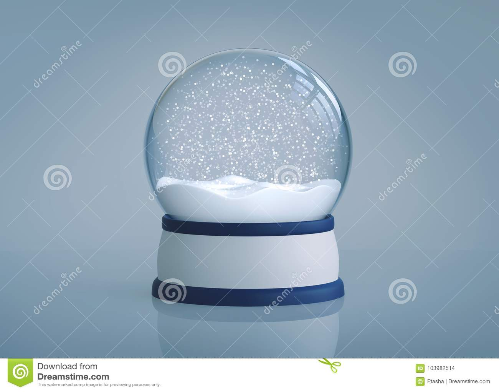 Christmas snow globe on blue background