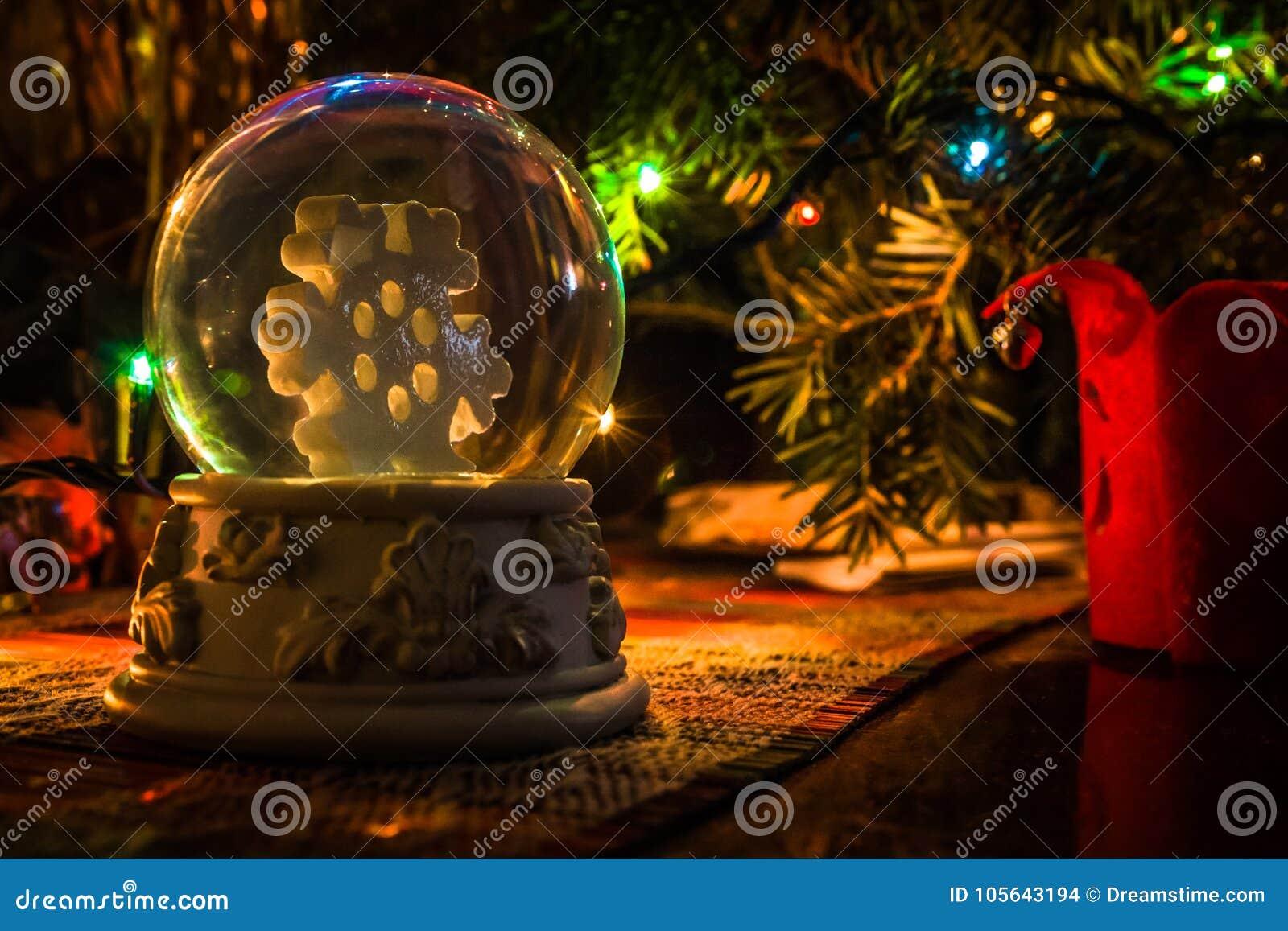 Colorful Christmas Lights Aesthetic.Christmas Snow Globe Perfect Aesthetics Stock Photo Image
