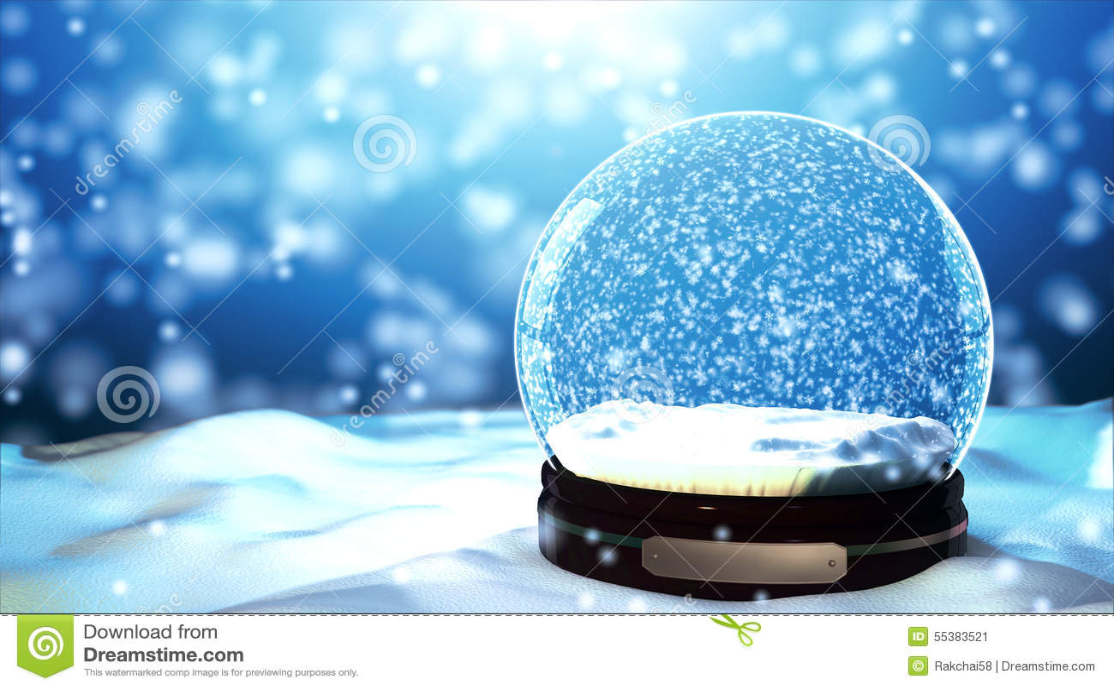 Christmas Snow globe Snowflake with Snowfall on Blue Background