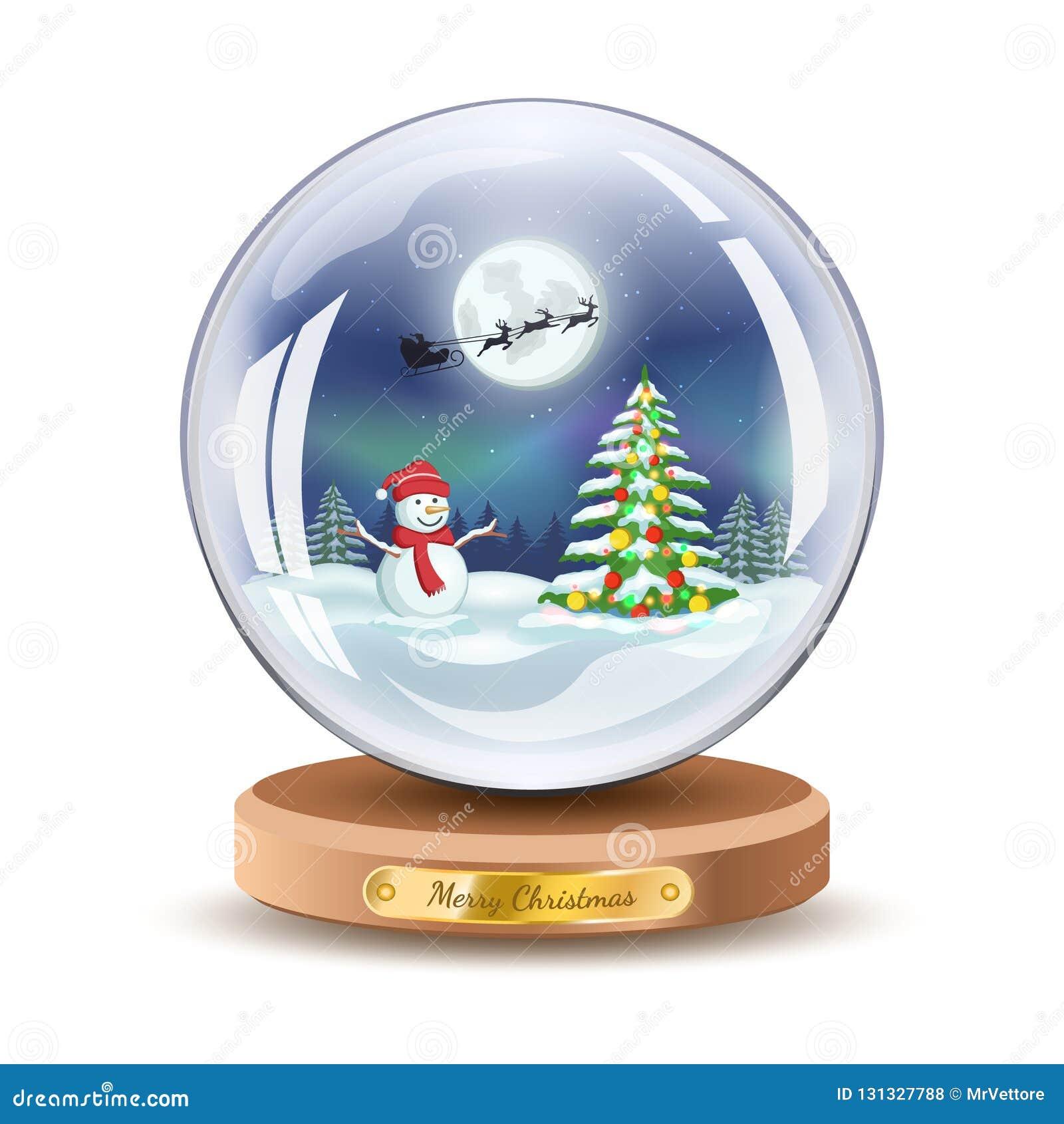 Christmas snow globe and snowman Vector Xmas gift glass ball illustration.