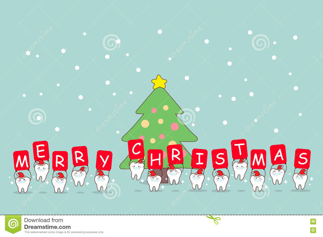 Christmas And Snow With Tooth Stock Vector - Illustration of miracle ...