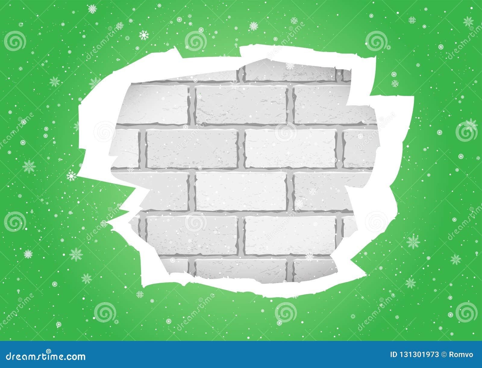 Torn Green Wallpapers Brick Wall Stock Vector Illustration
