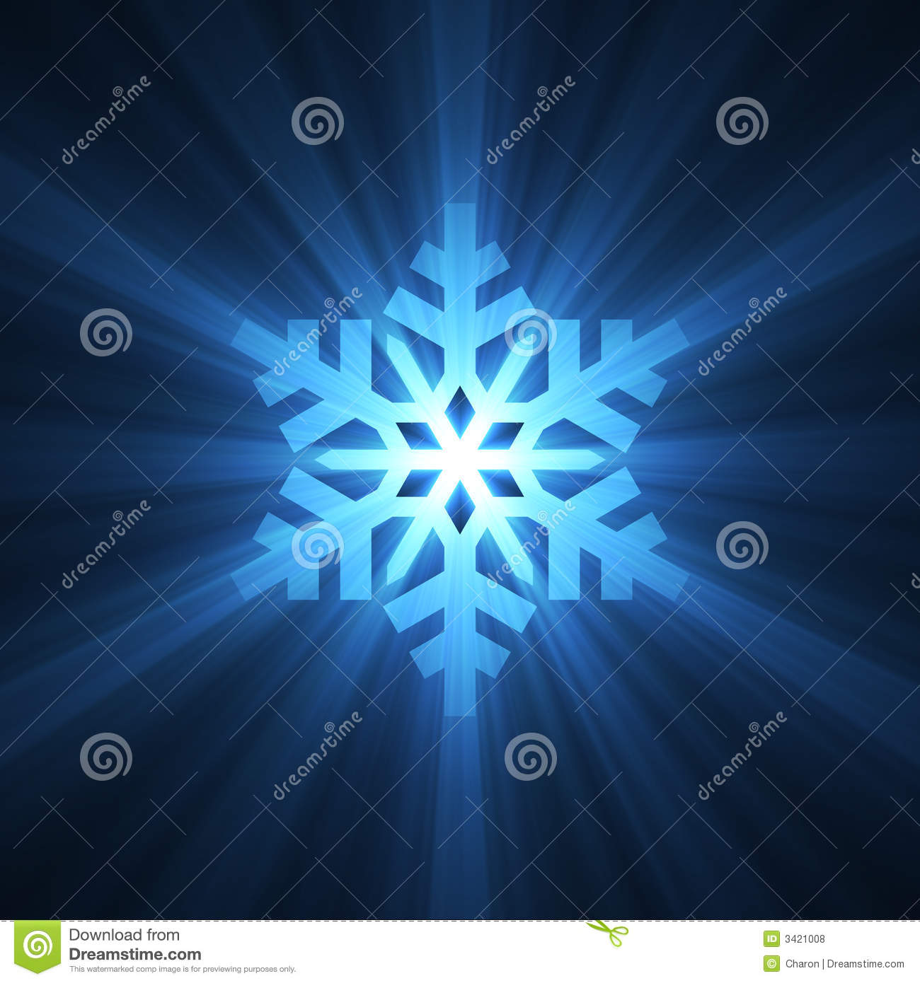 christmas snowflake blue light flare stock illustration