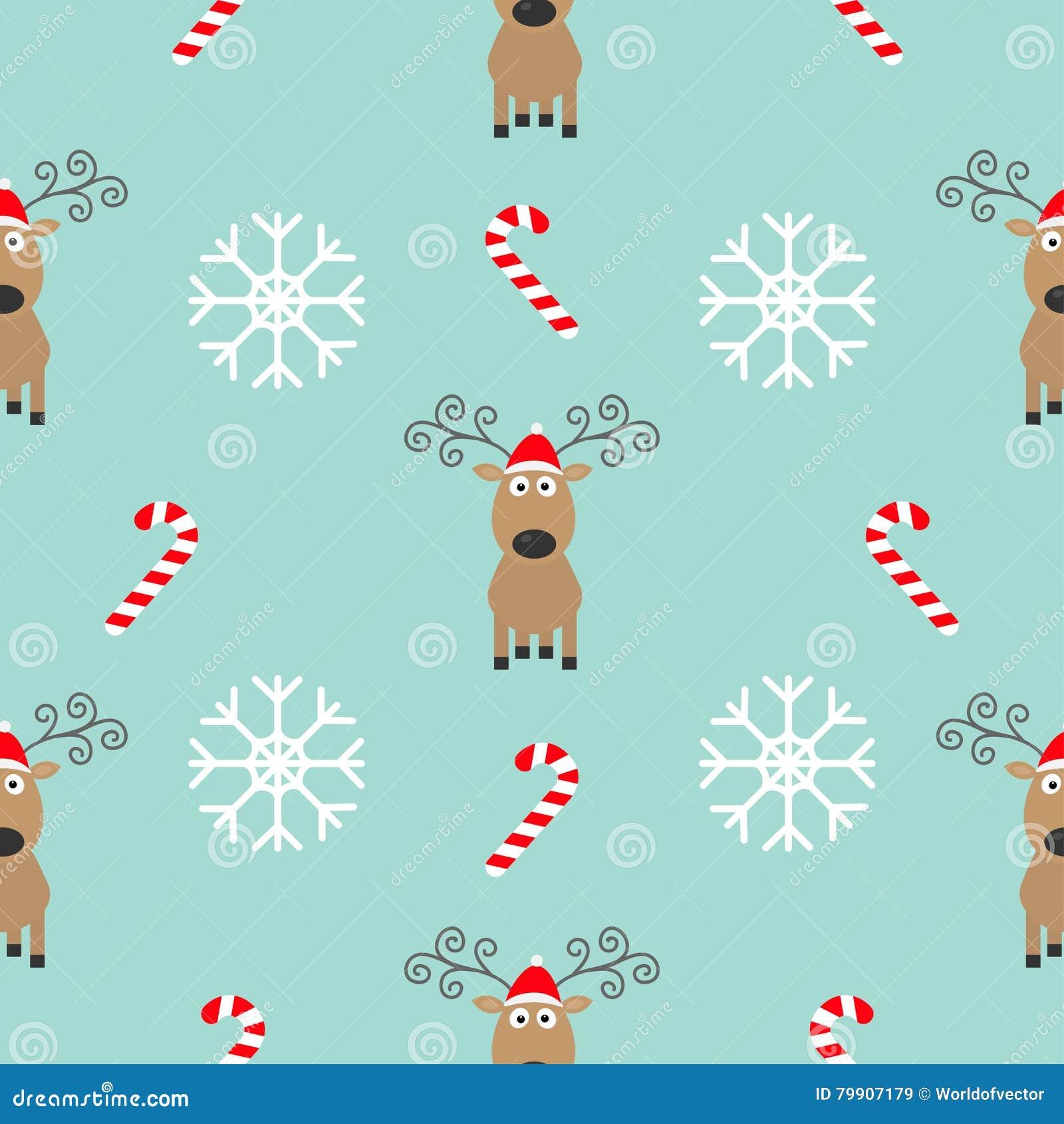 Christmas Snowflake Candy Cane, Deer Wearing Red Santa Hat. Seamless ...