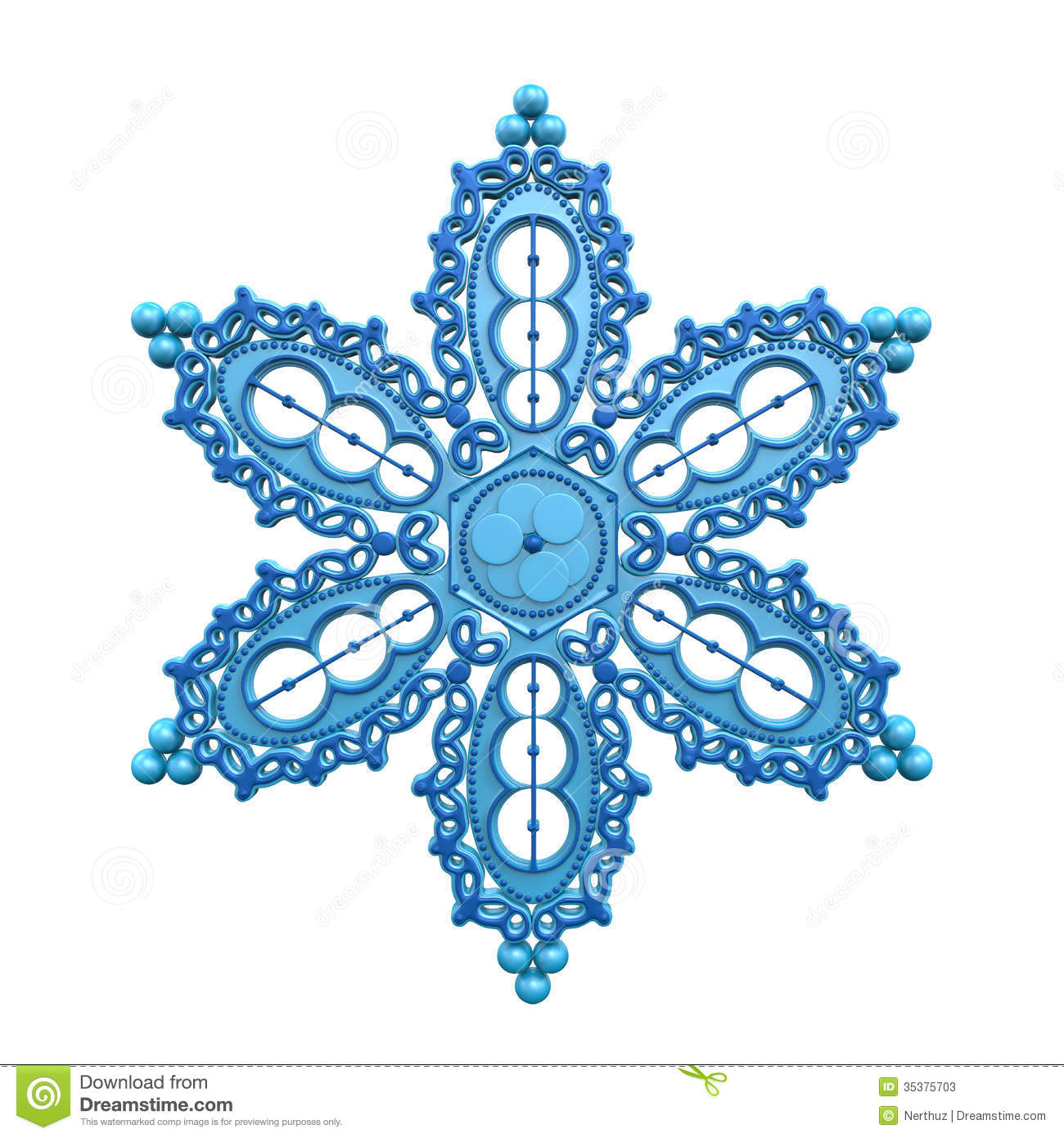 Christmas Snowflake Isolated on white background. 3D render.