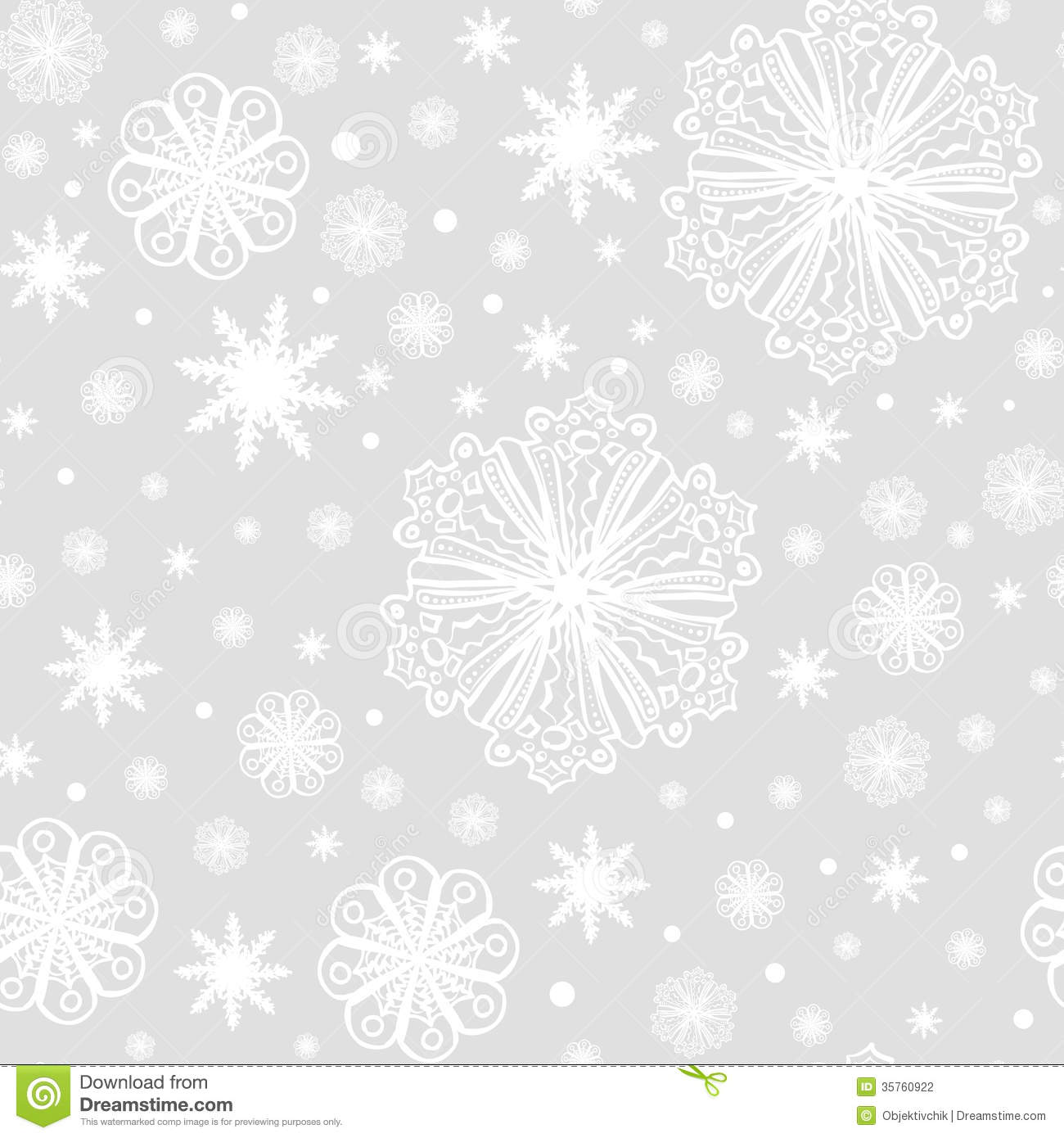 Christmas Snowflakes On Grey Seamless Pattern Stock Photography ...