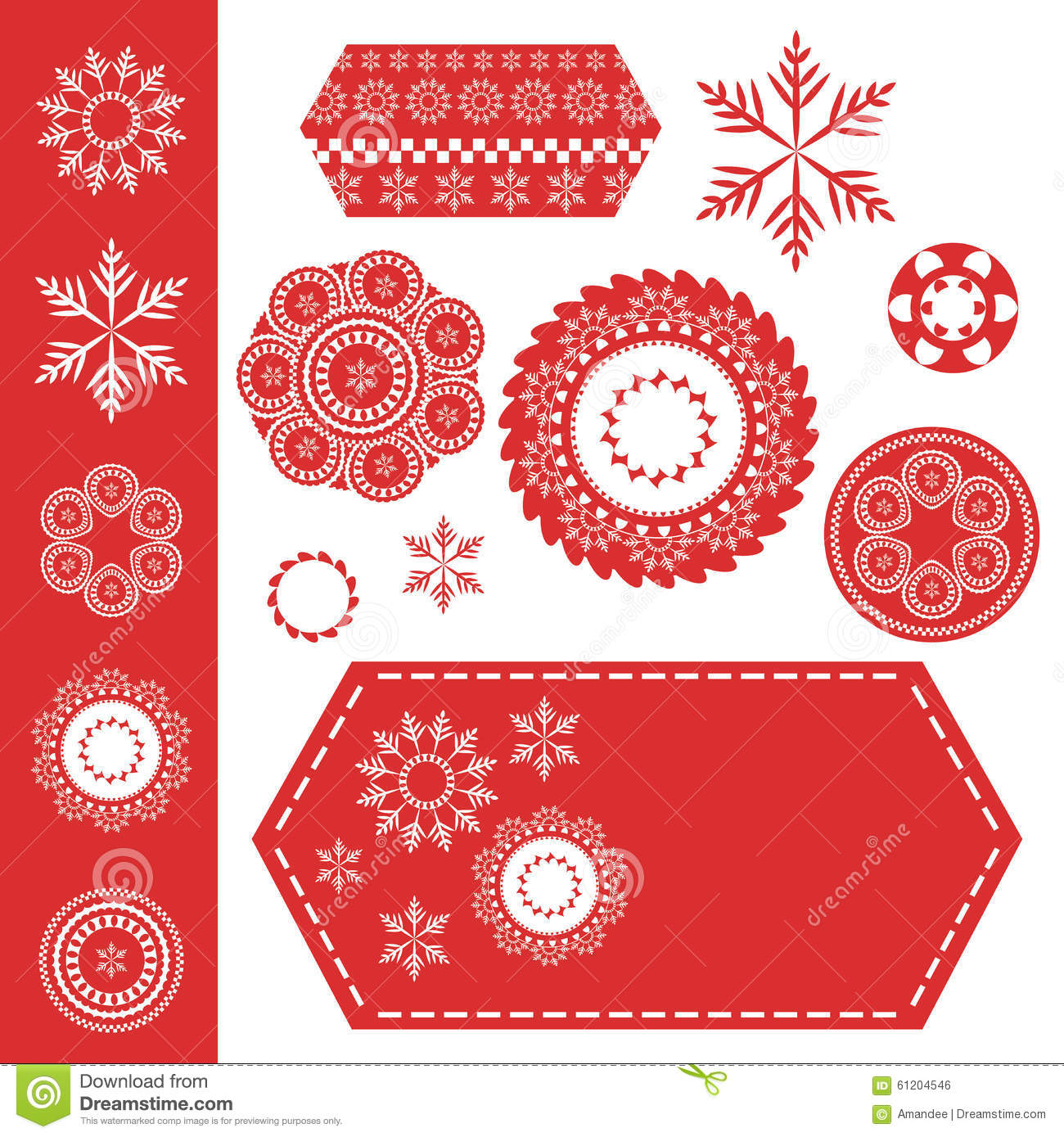christmas snowflakes or lace design elements on red tag with white stiches stock vector