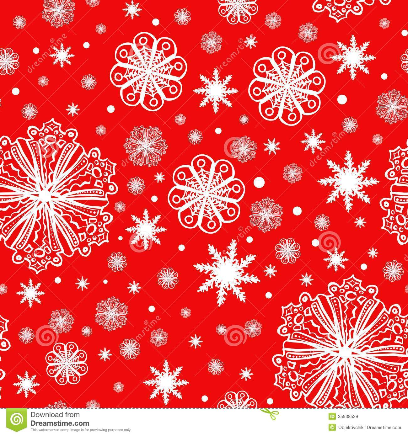 Christmas snowflakes on red seamless pattern stock vector