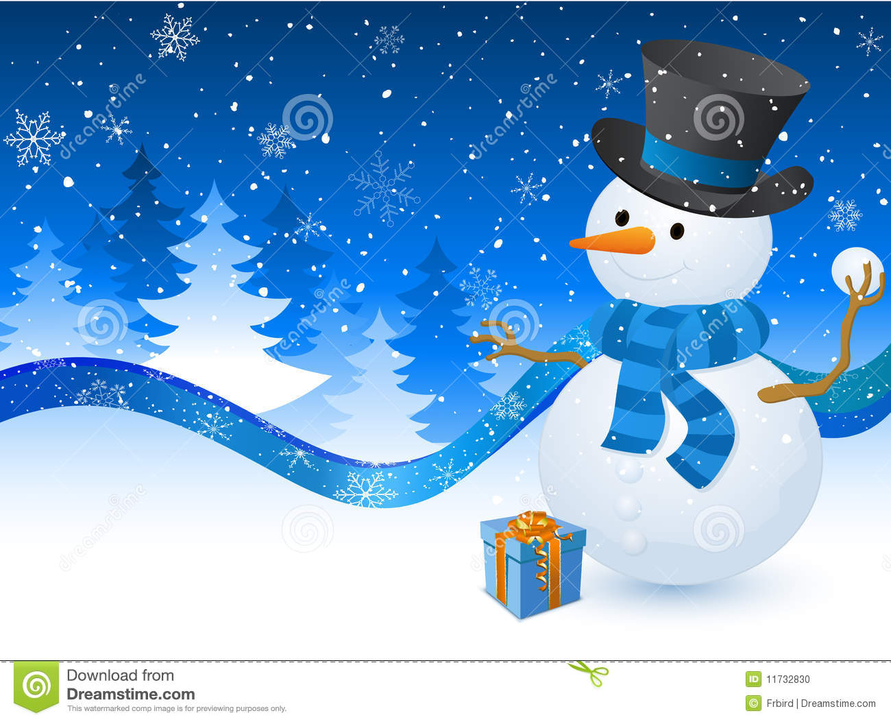 Christmas snowman with a gift box on the blue background