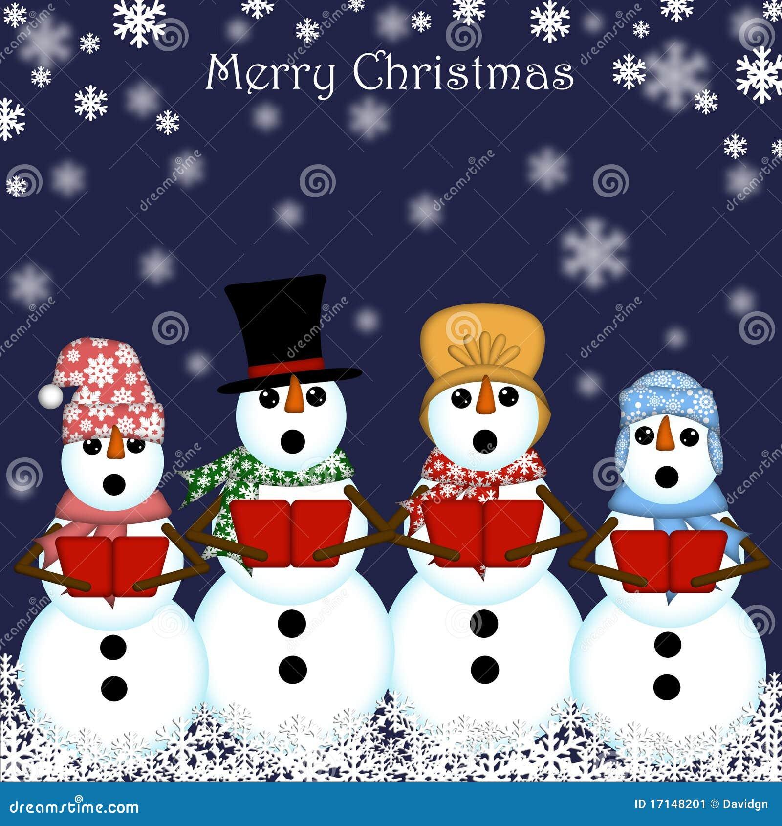 Christmas Snowman Carolers Singing Stock Image Image