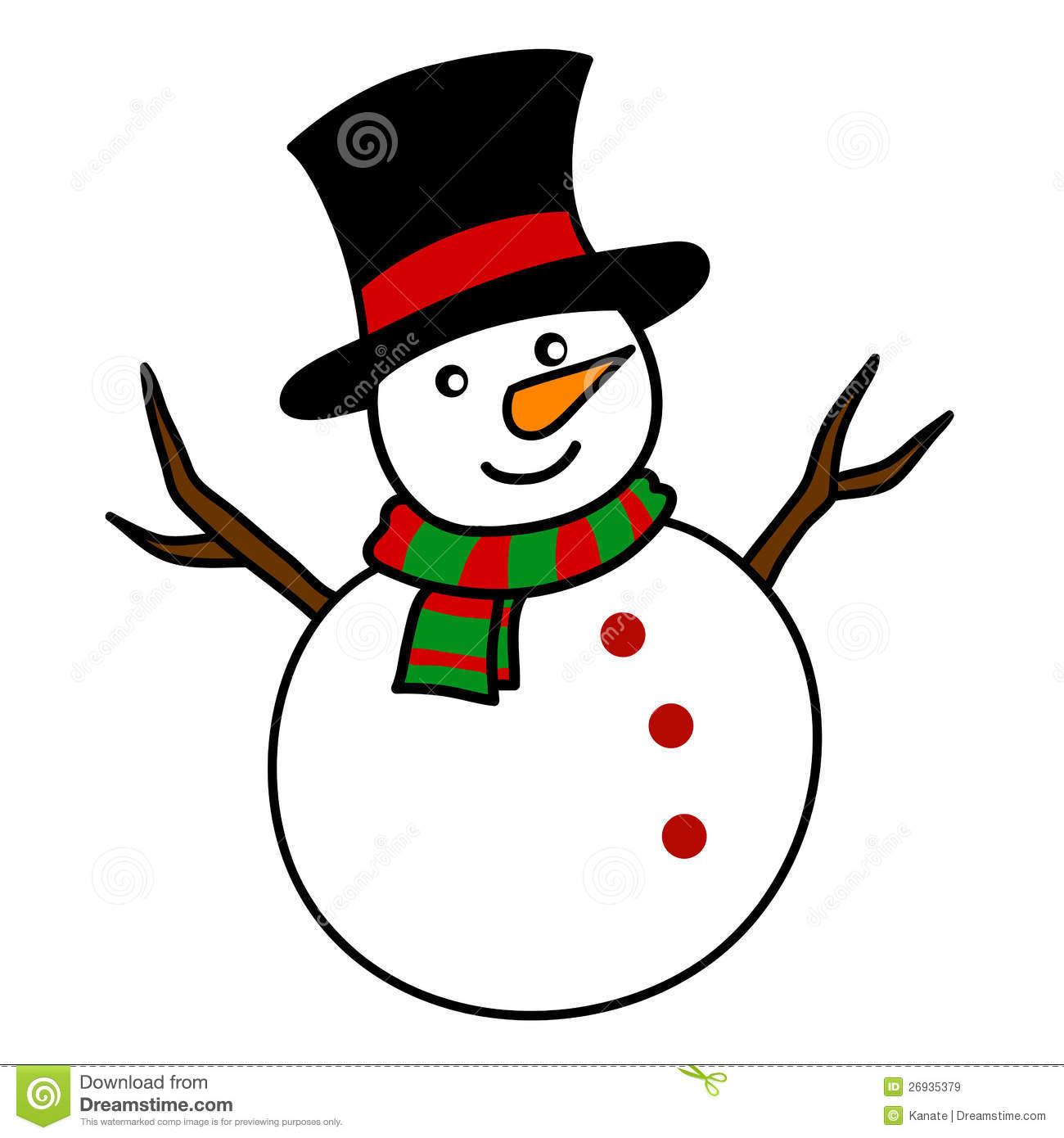 Christmas Snowman Cartoon. Royalty Free Stock Images - Image: 26935379