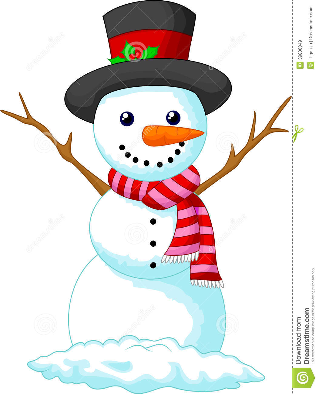 Christmas Snowman Cartoon Wearing A Hat And Red Scarf Stock Vector ...
