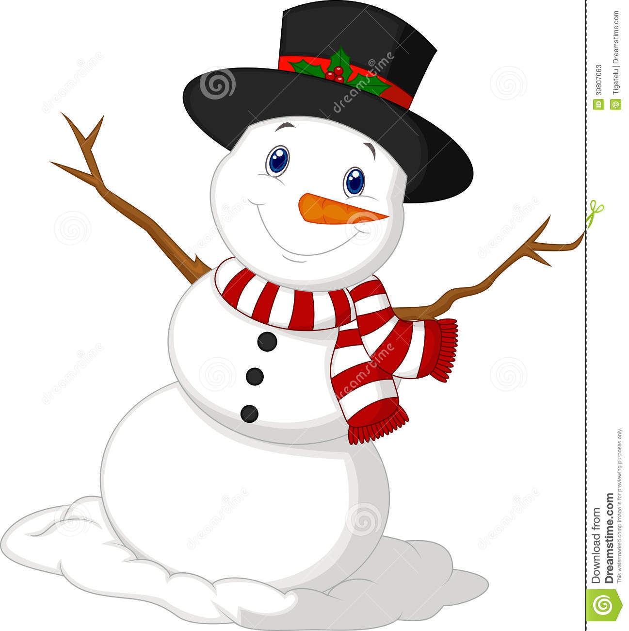 Christmas snowman cartoon wearing a hat and red scarf - Bonhomme de neige decoration exterieure ...