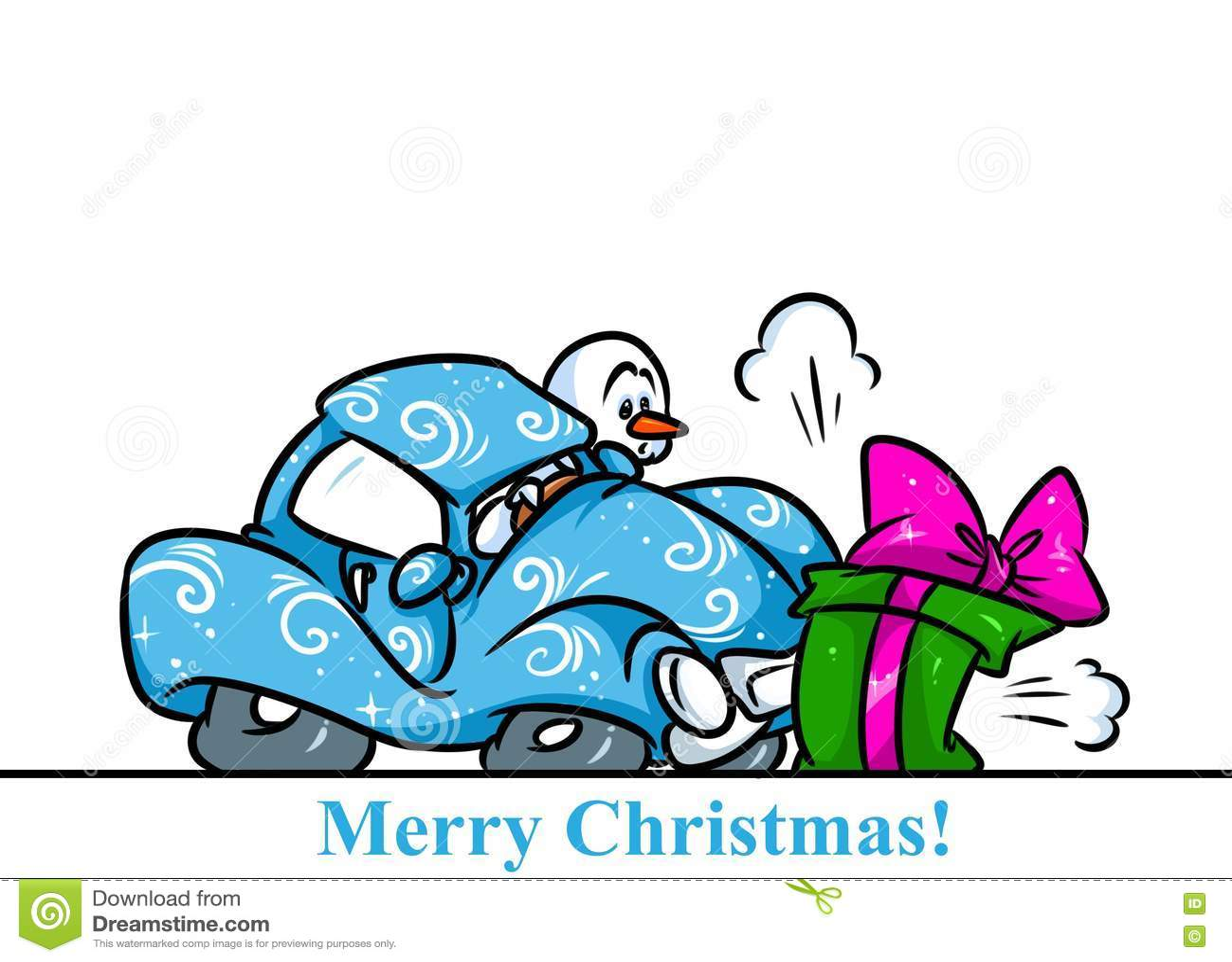 Christmas Snowman Character Car Accident Gift Cartoon Stock