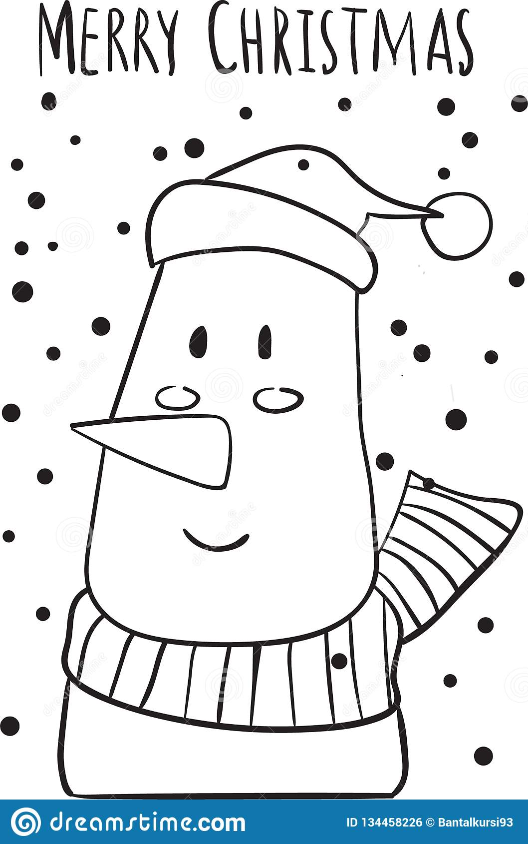 Christmas Snowman Coloring Page For Kid Stock Vector Illustration Of Children Winter 134458226