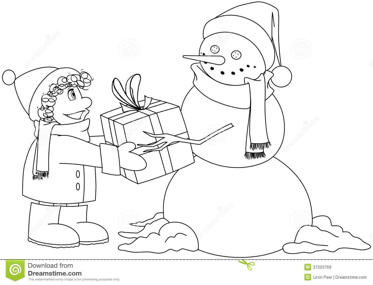 christmas coloring pages for boys | Christmas Snowman Gives Present To Boy Coloring Pa Stock ...
