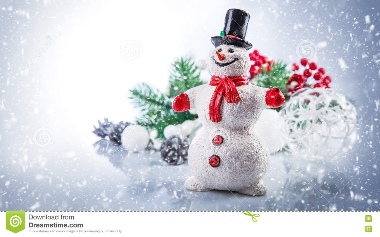 Christmas snowman. Holiday greeting card copyspace