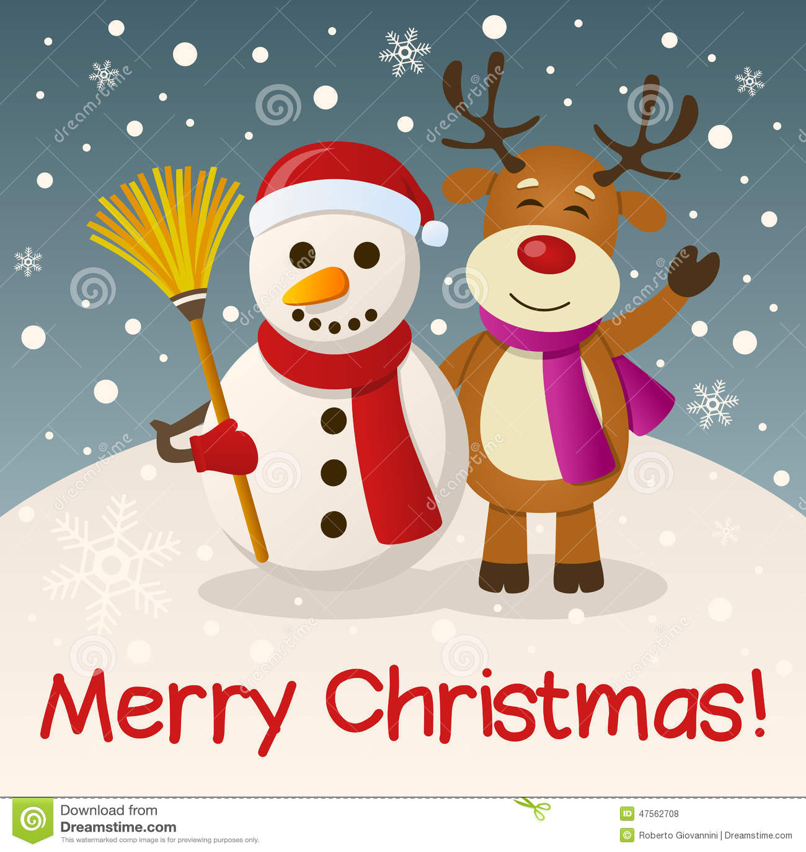 Christmas Snowman Amp Reindeer Stock Vector Image 47562708