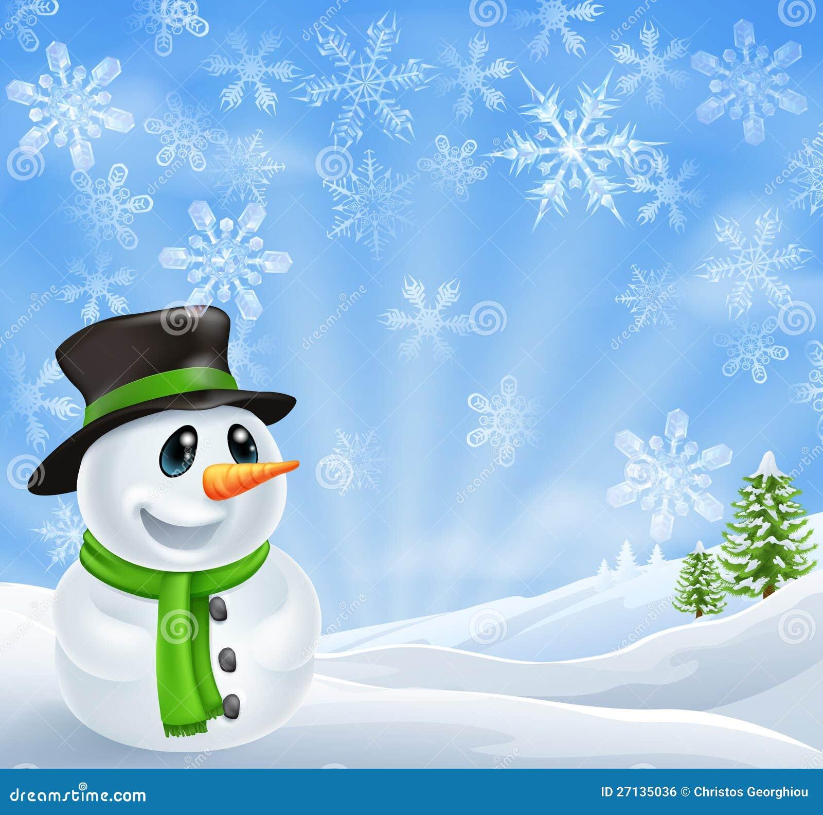 Christmas Snowman Scene Royalty Free Stock Image - Image: 27135036